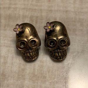 Skull Gold & Pink Large Flower Earnings